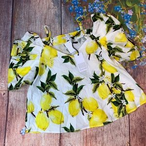 NWT LoveRiche off shoulder Lemons top size a Small